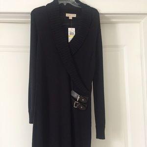 Michael Kors Navy Sweater Dress Leather M